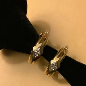 Small & Light Hoops 14K overlay with real diamonds